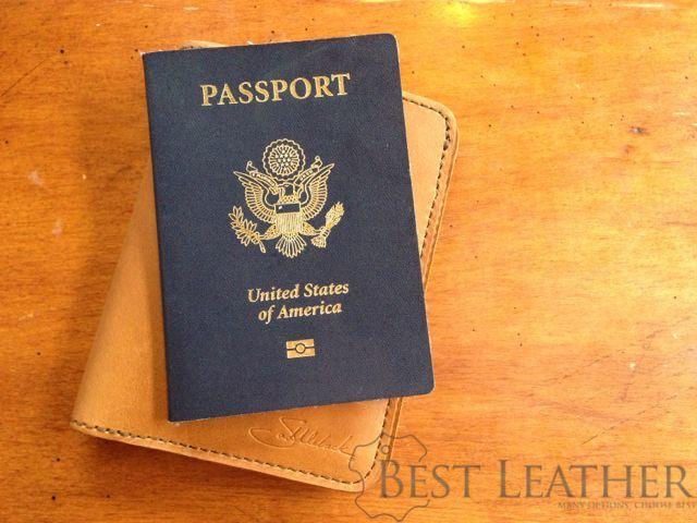 Saddleback Leather RFID Shielded Passport Wallet Tobacco with passport