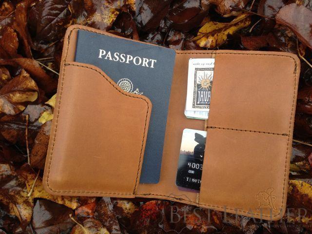 Saddleback Leather RFID Shielded Passport Wallet Tobacco on leaves