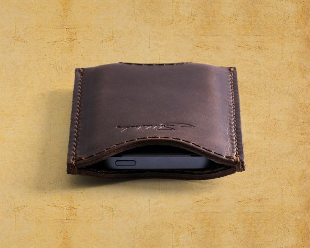 Saddleback Leather iPhone 5 case in Dark Coffee Brown front view