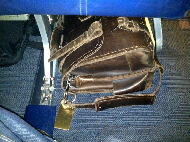 Saddleback Leather Large Classic Briefcase on Airplane