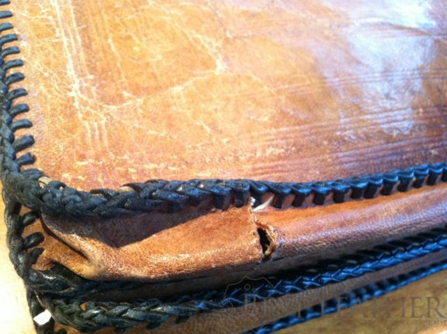 vintage handmade african leather briefcase