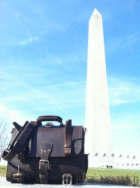 Saddleback Leather Large Classic Briefcase at Washington Monument